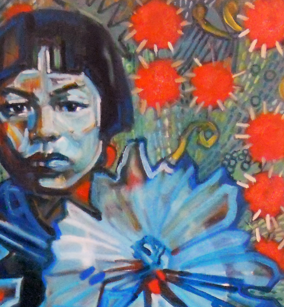 """Detail of """"Kusama as a young girl"""""""