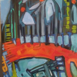 Detail from two panel abstract