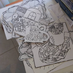 Sorting thru drawings to make pages