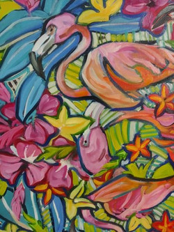 """Detail from """"Flamingo abstract"""""""