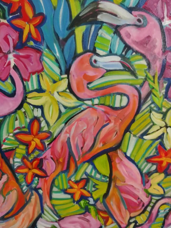"Detail from ""Flamingo abstract"""