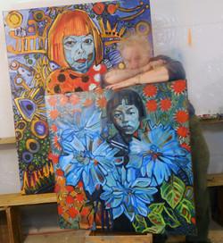 Two portraits of Kusama