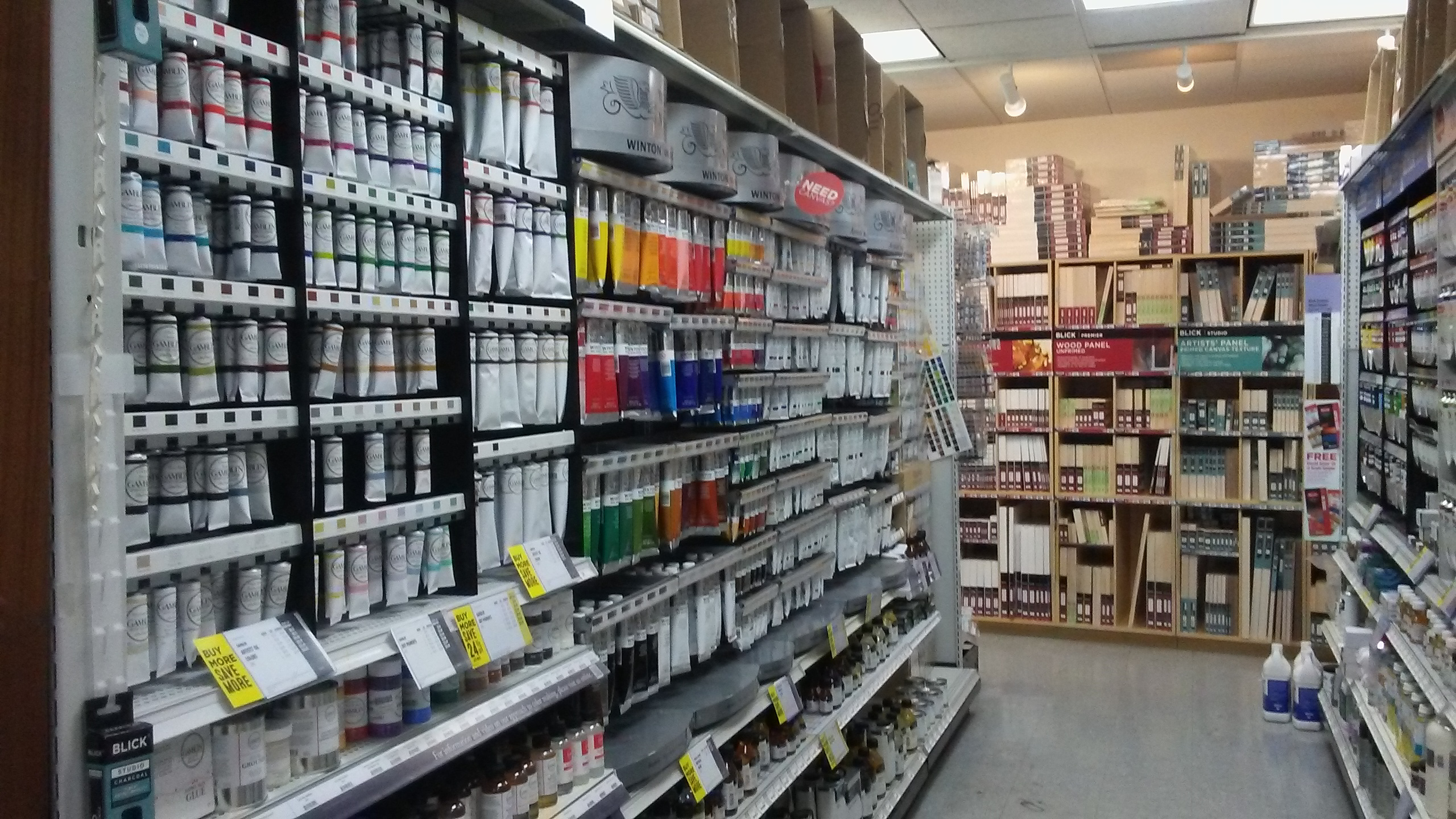 Paint aisle in Dick Blick DC
