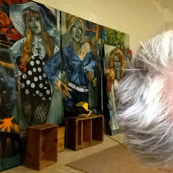 Working on 4 panel painting09/13