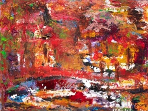"""Autumn's Fire/Breonna's Forest"" [Unframed] Mixed Media on Canvas"