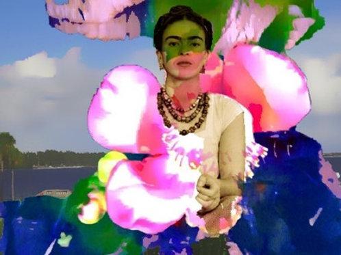 """""""Flower Warrior""""  Digital Collage Postcard"""