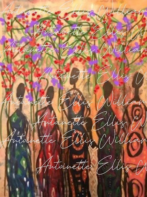 """""""Sister Gathering #2"""" [Unframed] Digital Collage"""