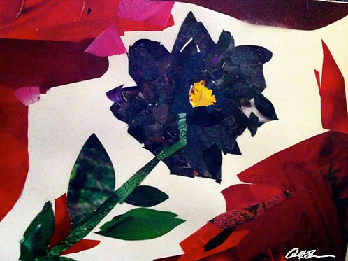 """Black Gardenias I"" Paper Collage -Notecard"