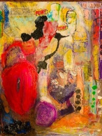 """""""Felicia Rises from the Ashes"""" [Unframed] Mixed Media on Canvas"""