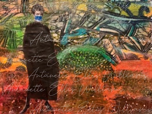 """""""A Walk in the Park"""" [Unframed] Mixed Media Collage on Canvas"""