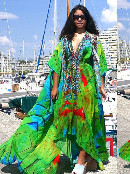 Halter dress green feather. Emeraude Bird