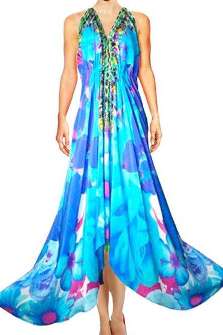 Long V-Neck Drawstring Silk Dress. French Bouquet.