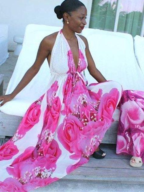 Dress with Pretty pink Rose. La vie en rose