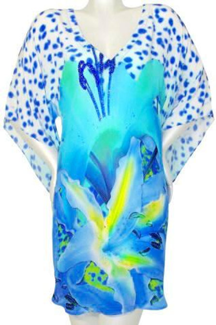 Floral Tunic radiant petals blue irises. French Lover