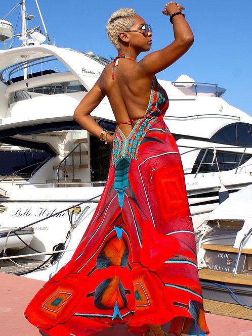 Long V-Neck Drawstring Silk Dress. French Riviera