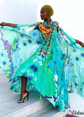 Dress in silk. French Bouquet