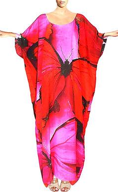 Kaftan in silk. Butterfly