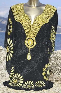 Blouse shirt in satin. Royalty gold
