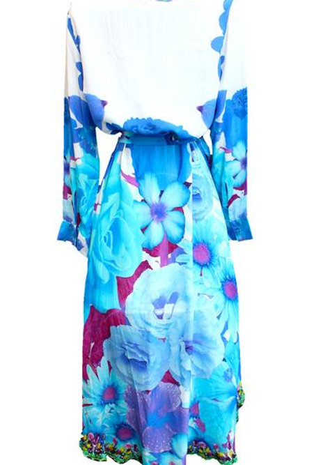 Long Dress blue flowers. French Bouquet.