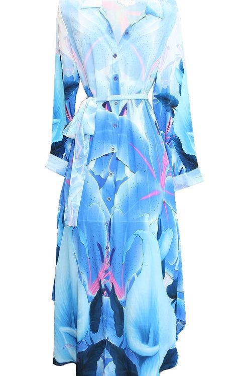 dress in silk. blue Iris Flowers. La Vie est Belle.