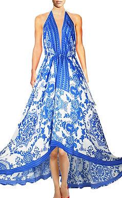Long V-Neck Drawstring Dress. Victoria