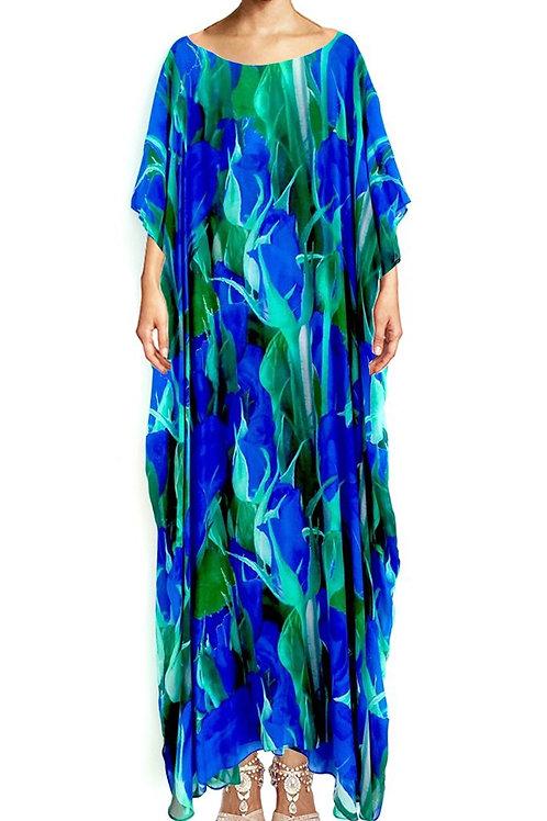 Kaftan Blue Roses In Modal. Blue Roses
