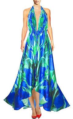 Halter dress in Satin embellished. Blue roses