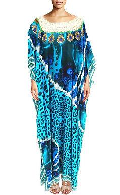 kaftan leopard fur blue. African Princess