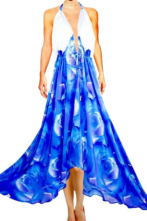 Dress in silk. Bleu Provence.