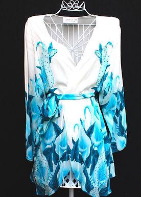 Embellished Silk Kimono Coverup w/ Belt. French Lover