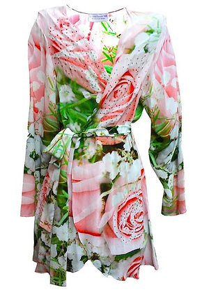Kimono Coverup w/ Belt. French Roses