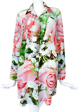 Embellished silk shirt. French Roses