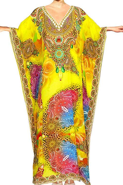Kaftan round neck bright arabesque flowers. Elegance