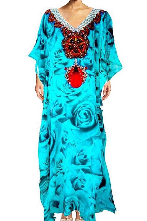 Kaftan dress rose buds. French Kiss Turquoise.