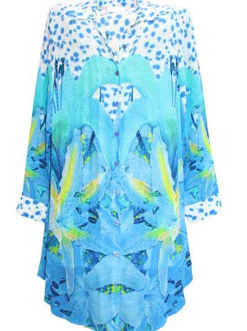 Embellished blue silk shirt. French Lover