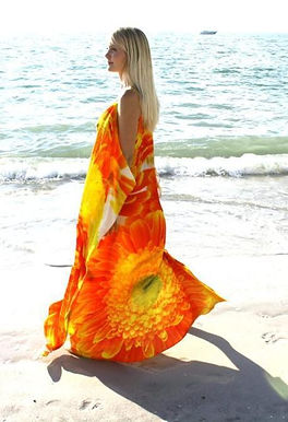 Orange dress bright amber marguerites. Marguerite