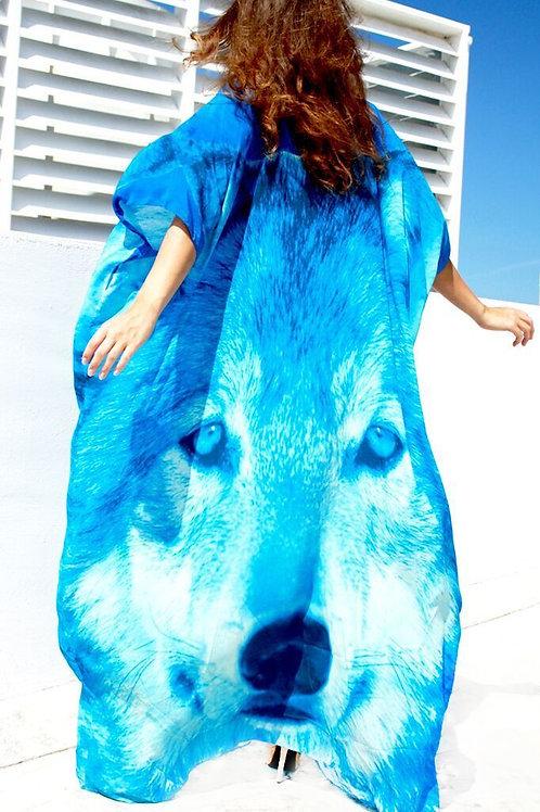 Kaftan White blue Wolf. Wolf