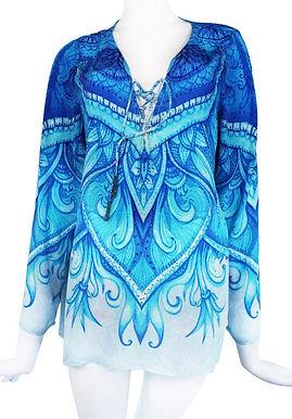 Lace-Up Blouse blue. Monte Carlo