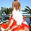 Thumbnail: Long V-Neck Drawstring Silk Dress Orange Roses. Mon Amour.