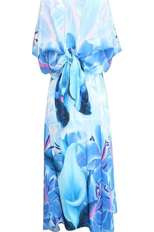 Skirt can be worn as Dress. blue Iris Flowers. La Vie est Belle.