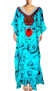 Kaftan blue rose buds. French Kiss Turquoise.