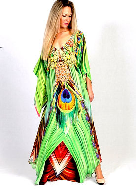 Green Kaftan dress. French Caribbean