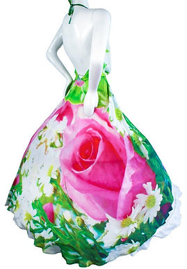 Dress in silk garden of Roses. Garden of roses