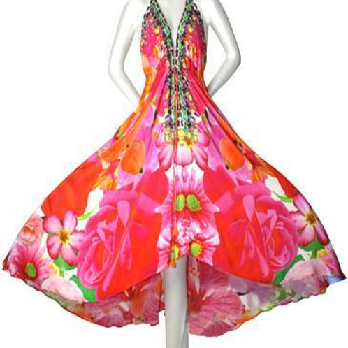 Floral dress in silk. French Bouquet