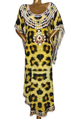 Leopard Dress. Bead Necklaces