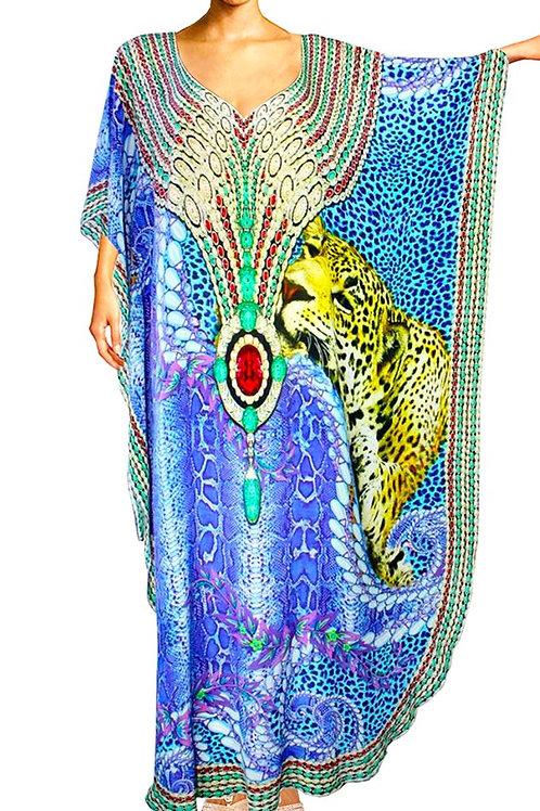 Kaftan dress snake skin leopard fur ruby jewel.Bahamas