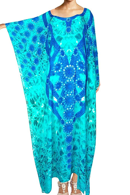 Kaftan In silk Modal. Turquoise