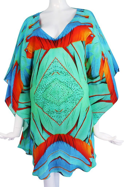 Top Emerald feathers silk tunic. Emerald feather