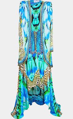 dress in silk feathers print. Cote d'azur