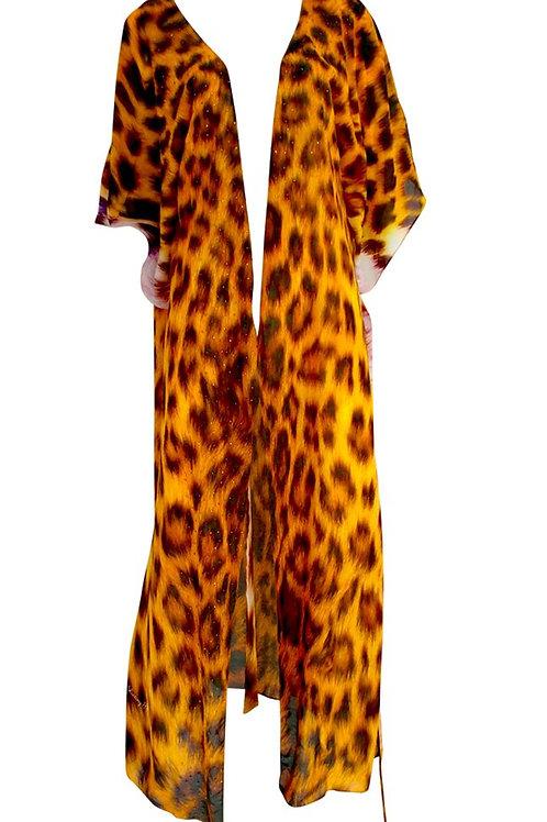 Wrap Maxi Dress leopard print fur. Petite Afric